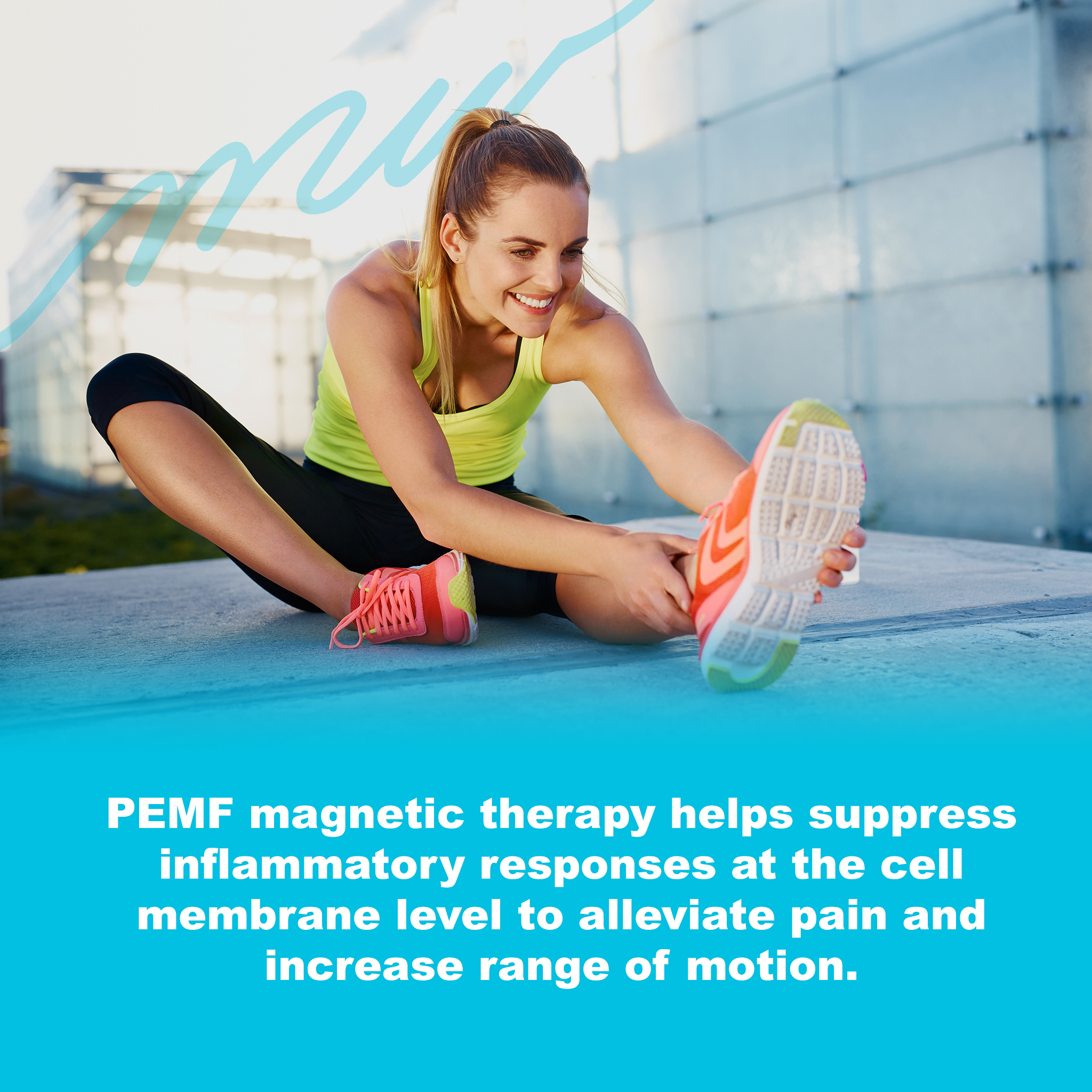 PEMF Magnetic therapy helps suppress inflammatory responses at the cell membrane level to alleviate pain and increase range of motion.