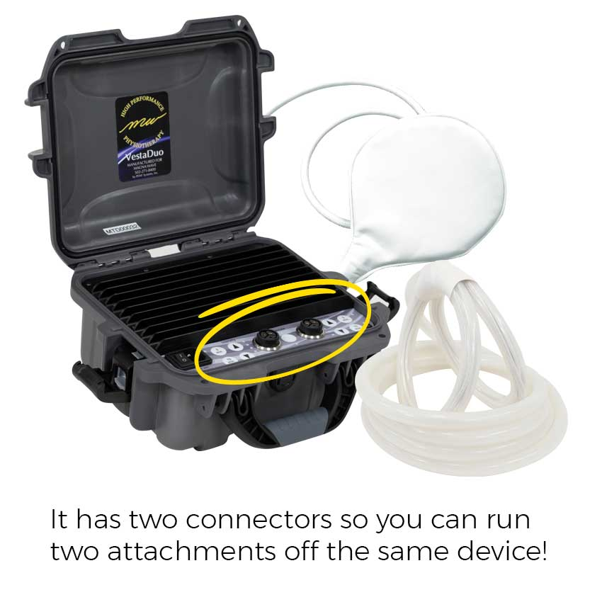 It has two connectors so you can run two attachments off the same device!