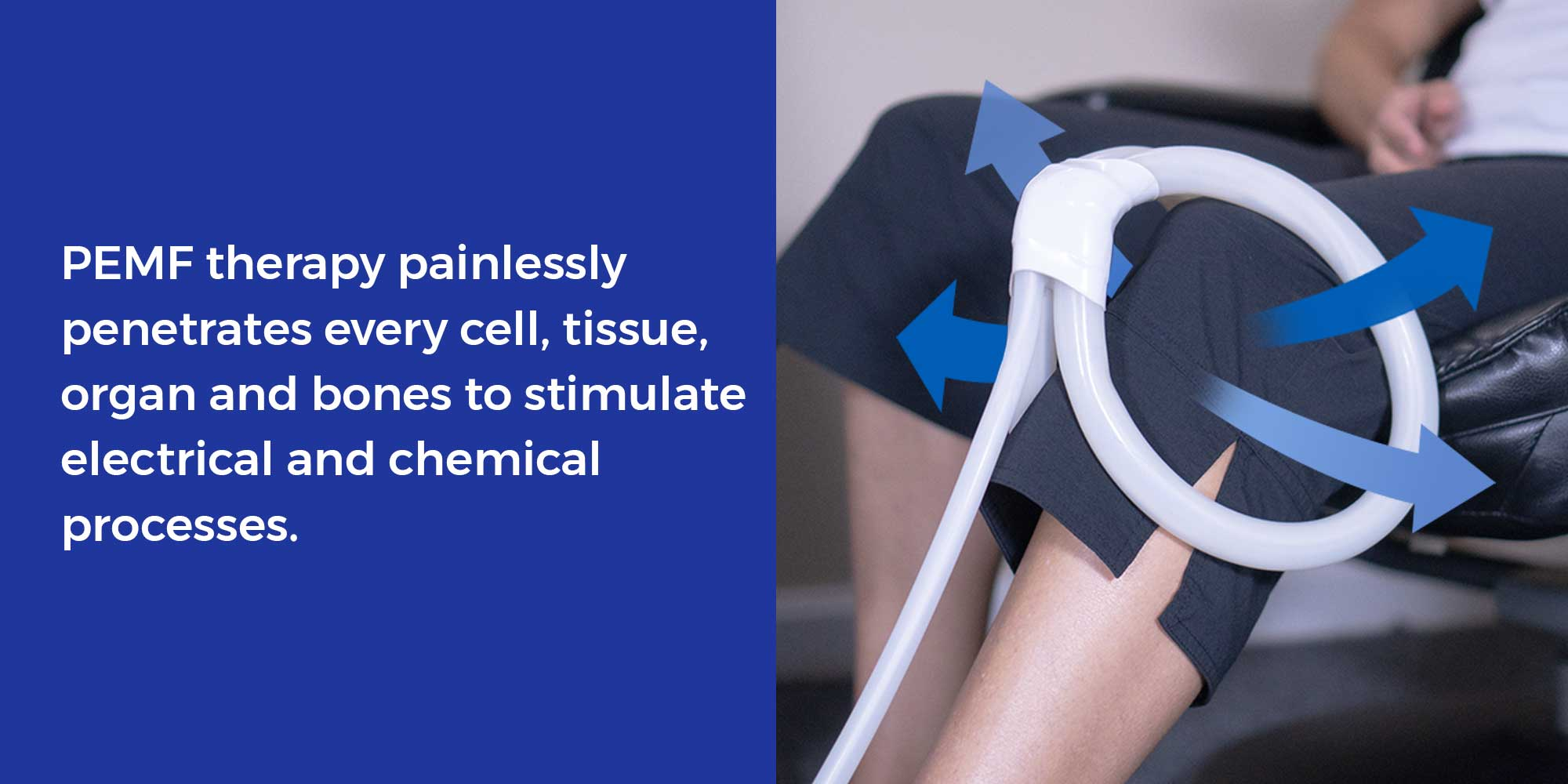 PEMF therapy painlessly penetrates every cell, tissue, organ and bones to stimulate electrical and chemical processes.