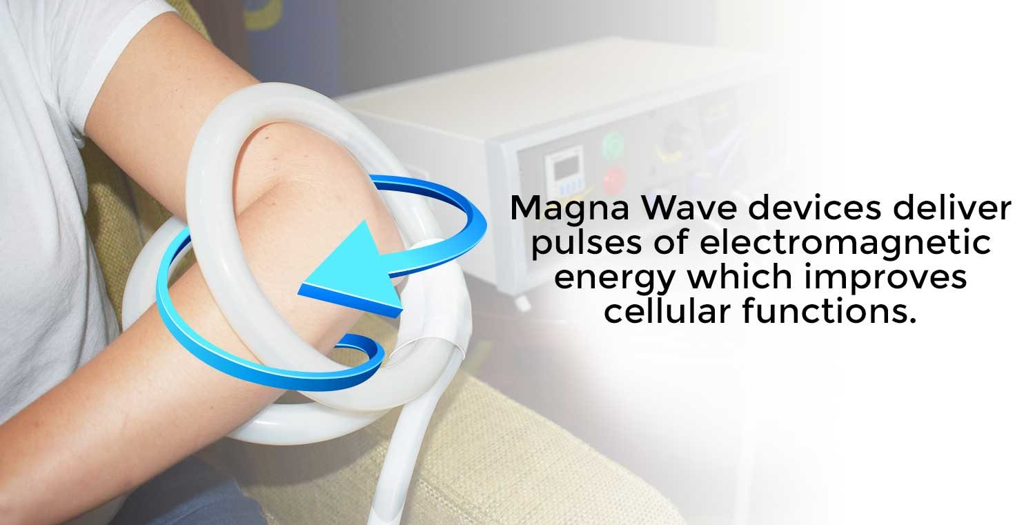 Magna Wave device delivers pulses of electromagnetic energy which improves cellular functions
