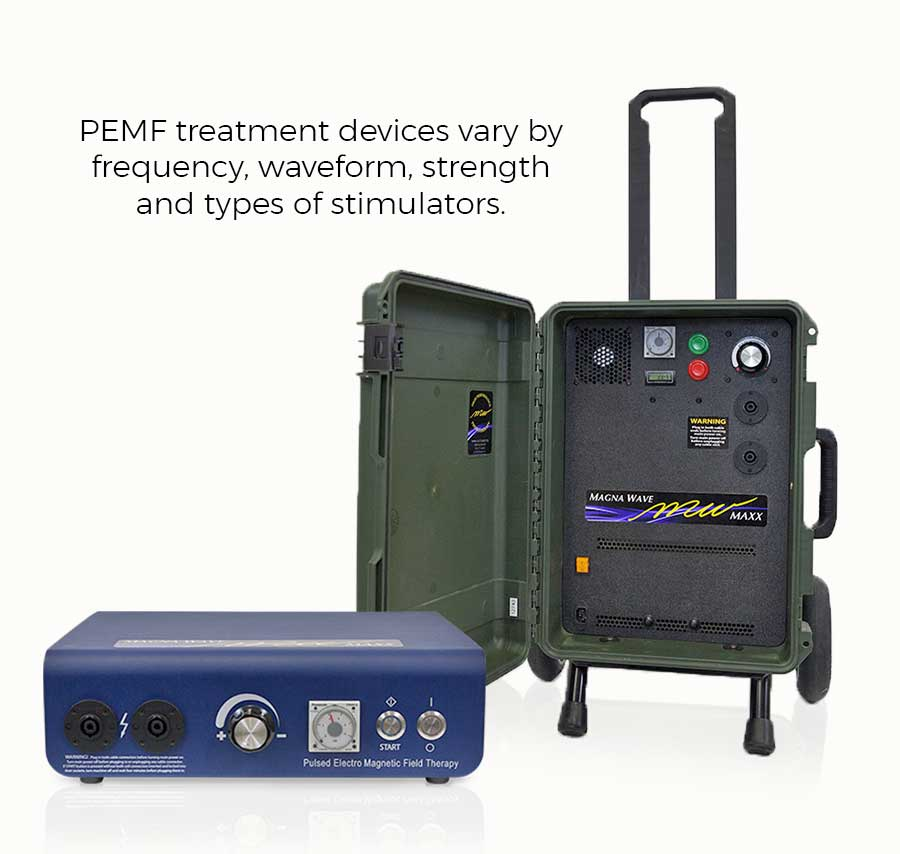 PEMF Treatment devices vary by frequency, waveform, strength, and types of stimulators.
