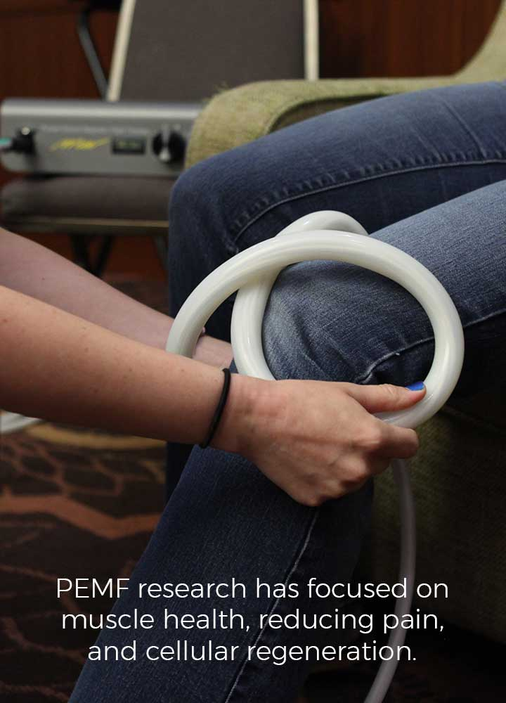 PEMF research has focused on muscle health, reducing pain, and cellular regeneration.