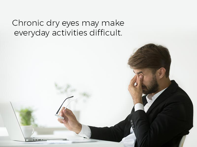 Chronic dry eyes may make everyday activities difficult